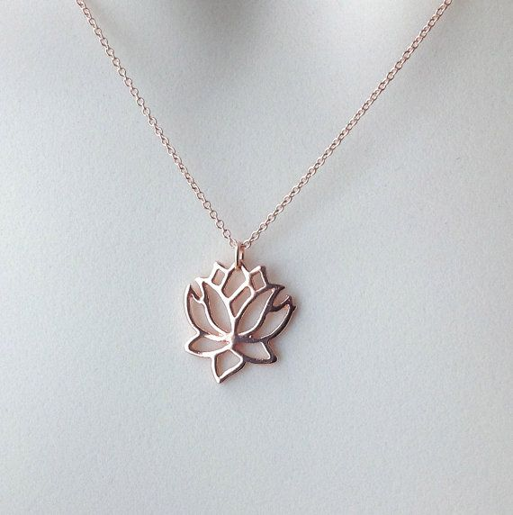 Rose gold lotus necklace lotus flower yoga by WendyShrayDesigns