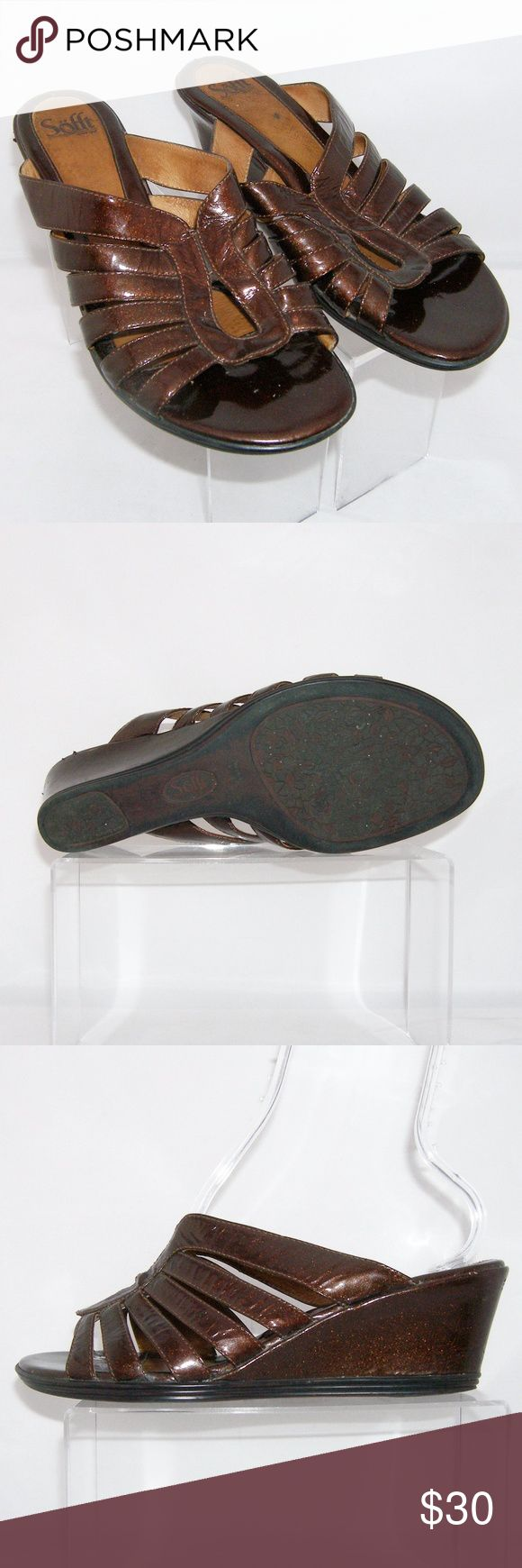 """Sofft bronze metallic leather sandal wedge 10M These Sofft shoes features a metallic leather upper/lining/sock, slip on design, padded insole, balance man made, man made sole, 3.75"""" width, and a 2.25"""" wedge heel. Slightly worn upper, inner, insole, heel(tear/peeling), and sole. Sofft Shoes Sandals"""
