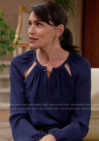 Quinn's blue cutout blouse on The Bold and the Beautiful.  Outfit Details: https://wornontv.net/62486/ #TheBoldandtheBeautiful