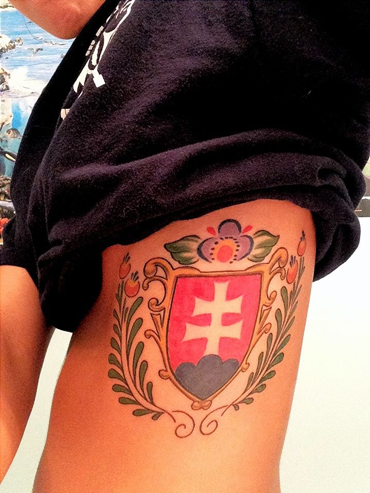 My new Slovak crest and Moravian flower tattoo  on my ribs #slovakia # ribtattoo #moravia