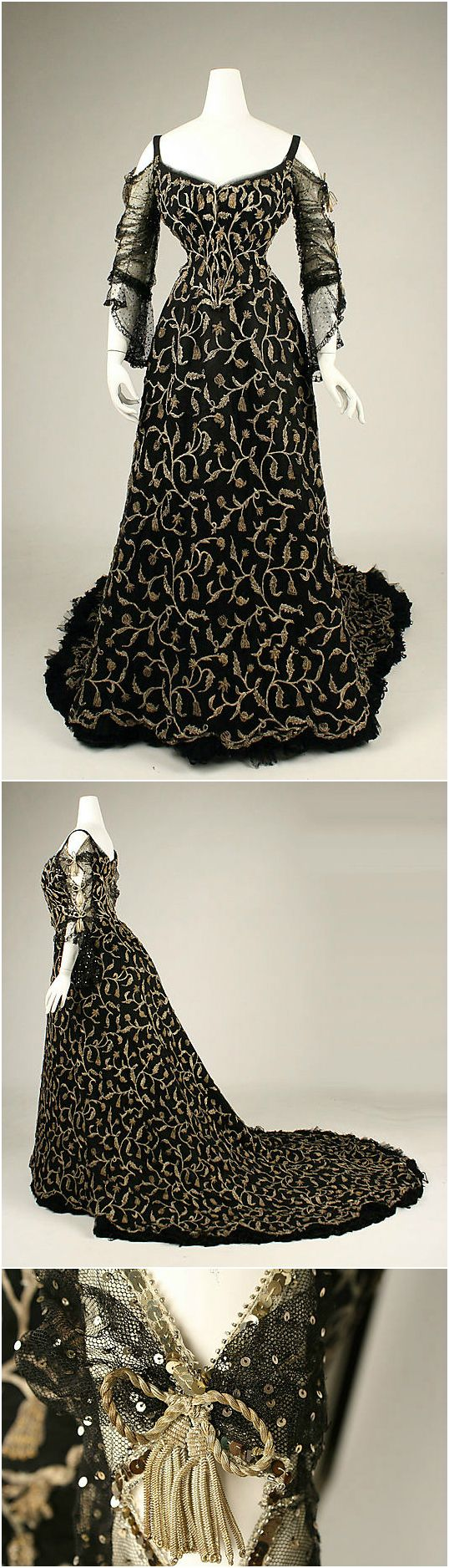 Dress [possible court dress?], by Morin-Blossier, Paris [label], 1904, at the Met. See: http://www.metmuseum.org/collection/the-collection-online/search/108728