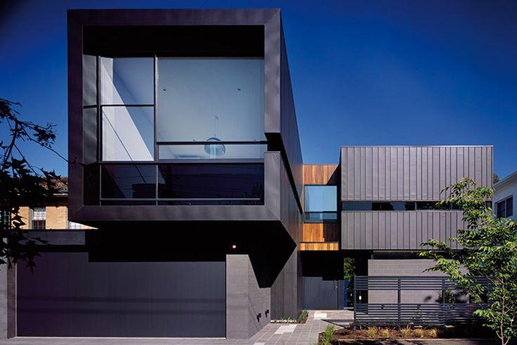 Black zinc cladding caulfield house by bower architects for Architecture zinc