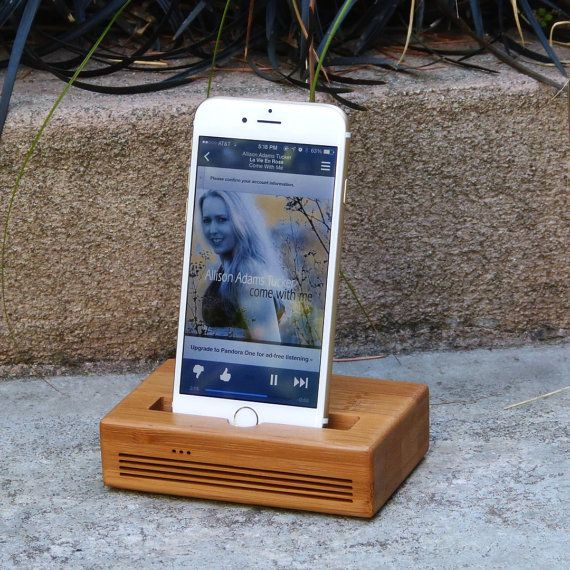 Docking Station, Acoustic Speaker dock for iPhone 6 Plus - CONCERT model in BAMBOO – Use With or Without a Cover - Amplifies the Sound