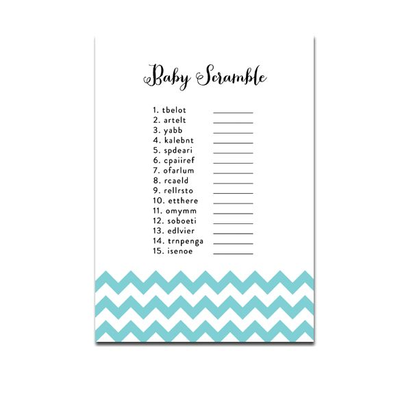 Baby Shower Game - Baby Scramble - Blue Chevron - Instant Download Printable