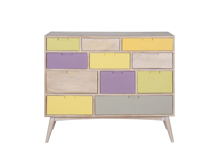 Pastel Draw - Χειροποίητη συρταριέρα από μασίφ ξύλο μάνγκο  Διαθέτει 11 συρτάρια (με οδηγούς)