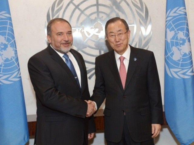 FM Liberman meets UN SG Ban Ki-moon