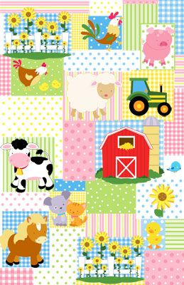 Farm Friends Patchwork Mural - Janet Skiles| Murals Your Way