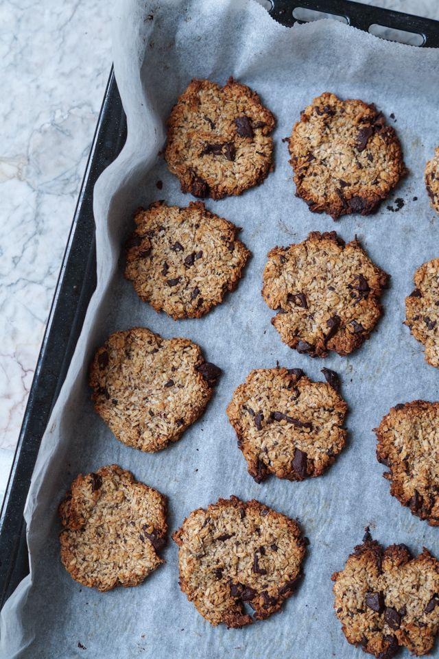 Sunde cookies med havregryn og chokolade (uden æg)