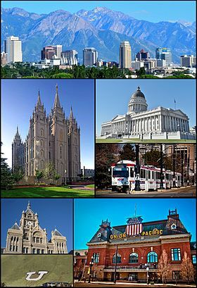 From top left: The skyline in July 2011, the Salt Lake Temple, Utah State Capitol, UTA TRAX, the City and County Building, Union Pacific Depot and the Block U