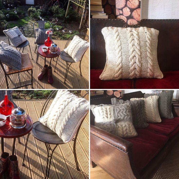 Selection of hand knitted pillowcases. Real wool. Find some matching blankets in my shop's section - blankets.