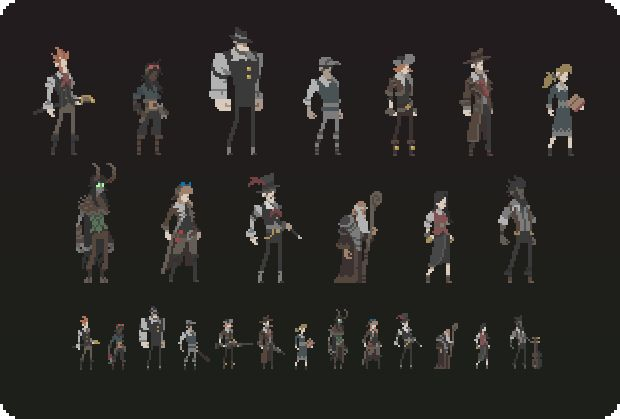 Playable characters. From left to right: Gentleman, Technician, Moose, Slugger (Stretch Goal), Trapper, PI, Curator, Guardian, Alchemist (St...