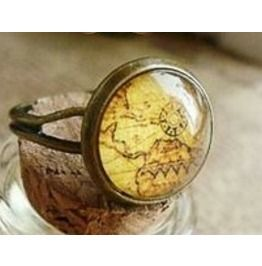 Two Steampunk Vintage Looking Map Rings. Eb Edl