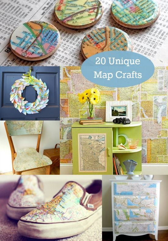 20 Unique Ideas For Map Crafts - lots of Mod Podge!