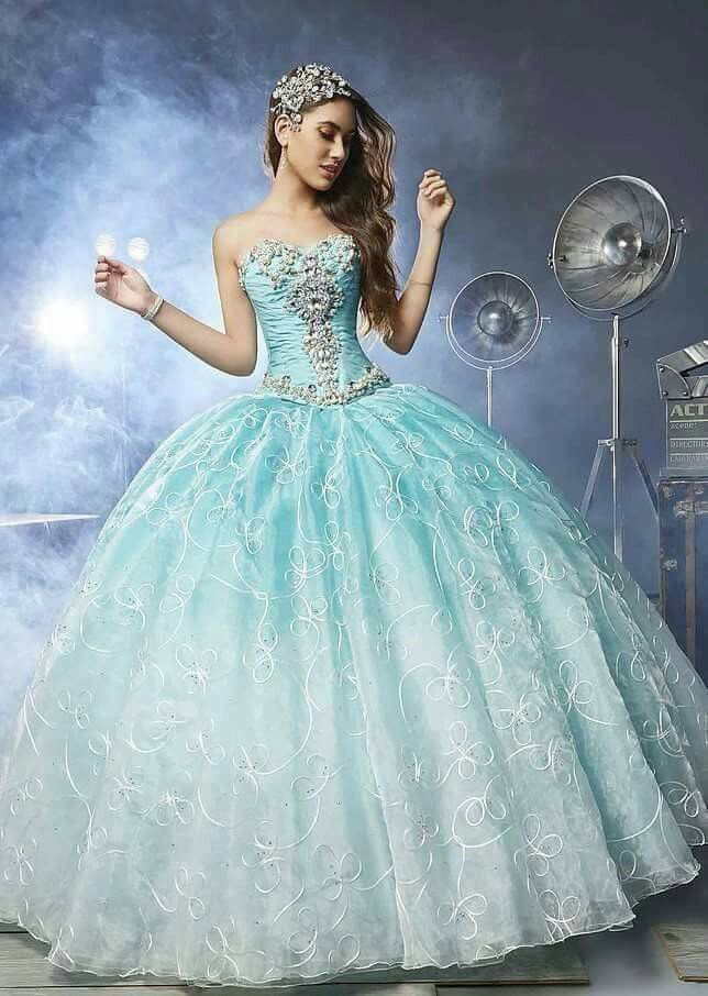 Blue sweetheart quinceanera dress