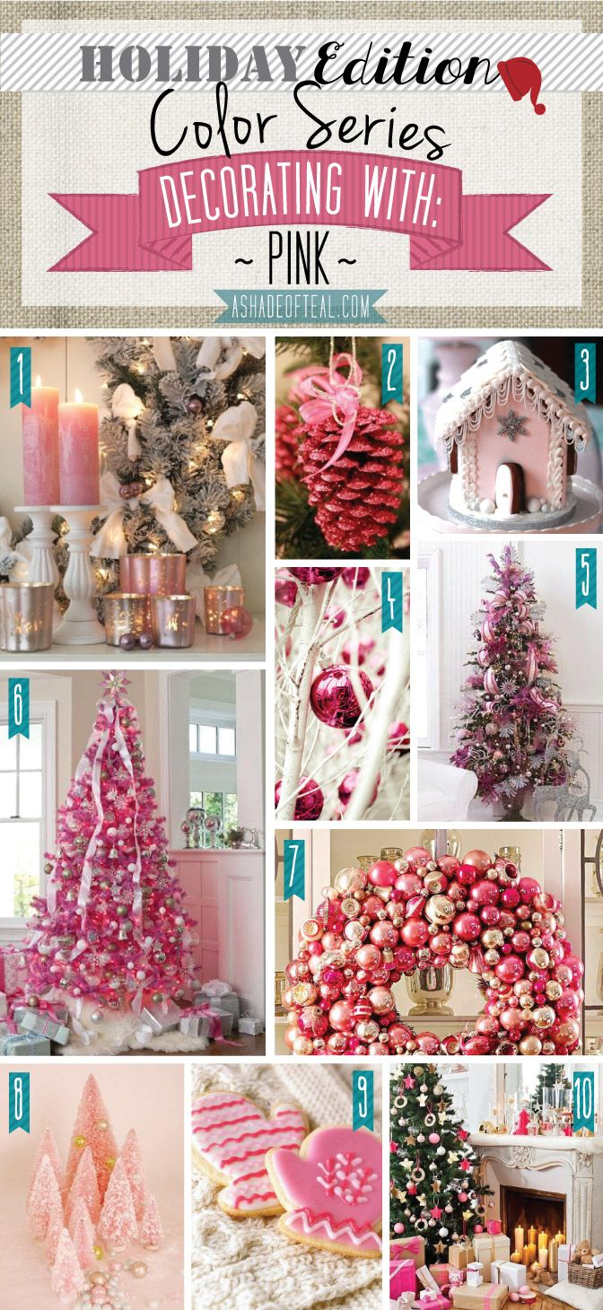 The blue Christmas theme was so pretty yesterday.  For Christmas day let's lighten it up a bit with this Christmas mood board in all shades of PINK.   Merry Christmas everyone!