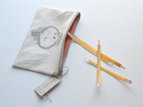 Fox silk screen printed cotton and linen pencil case  http://www.etsy.com/listing/170706114/fox-silk-screen-printed-cotton-and-linen?ref=shop_home_active_9