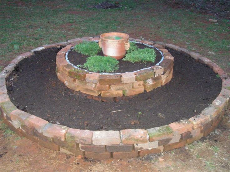 reclaimed brick raised herb bed