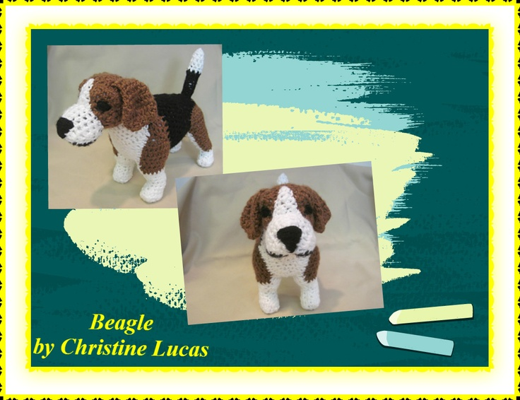 """Beagle by Christine Lucas - This pattern is available for $2.50 USD. Finished Project Size: 11""""L x 9""""H x 4""""W (http://www.ravelry.com/patterns/library/beagle-4)"""