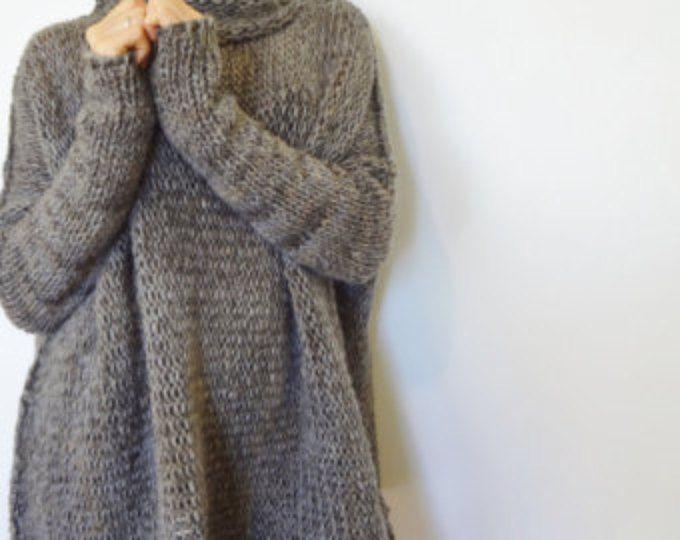 Gran tamaño mecos suéter de punto. Slouchy/Bulky/flojo suéter. Mármol gris. Cantidad limitada.