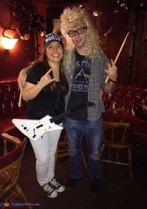 Vivian: My boyfriend and I decided to go as Wayne and Garth. With the exception of the Garth wig and the guitar everything we had already. The hat was originally white...