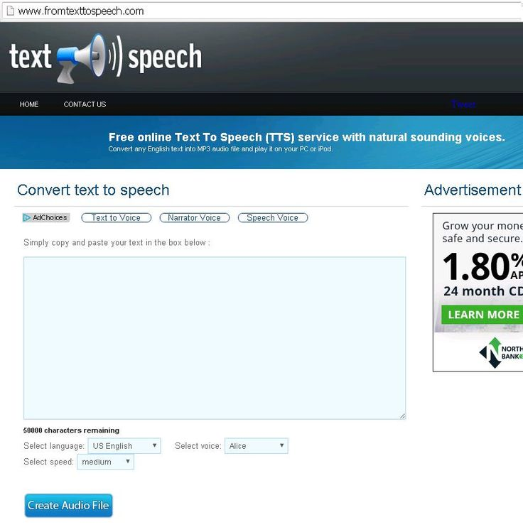 Free online Text To Speech (TTS) service with natural sounding voices. Convert any English text into MP3 audio file and play it on your PC or iPod. http://www.fromtexttospeech.com/