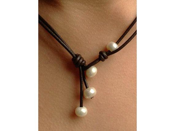 4 way leather freshwater pearls necklace  by Carolinelenox on Etsy, $48.00