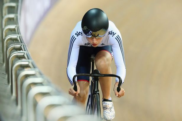 Laura Trott of the Great Britain Cycling Team competes in the Women's Omnium Flying Lap during Day Five of the UCI Track Cycling World Championships