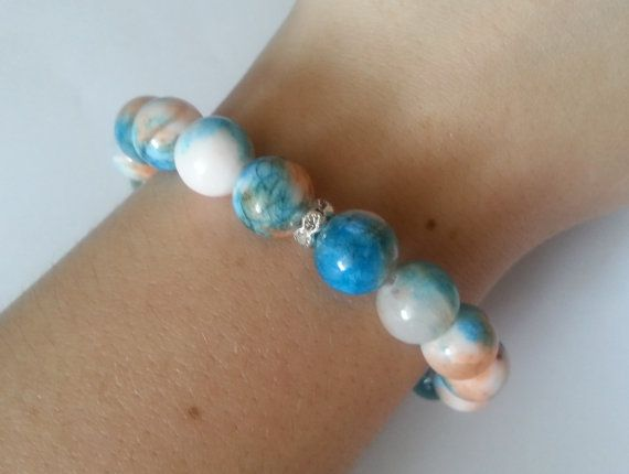 Wonderful white blue peach jade bracelet with zircons spacers