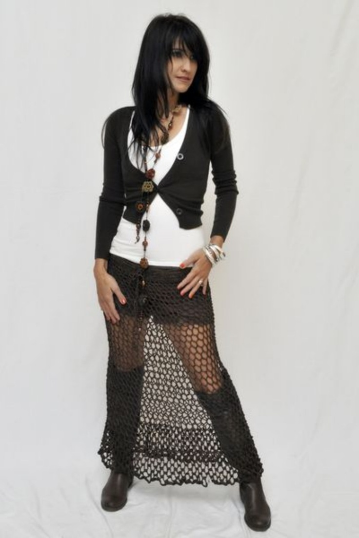 Long crochet skirt available in stunning colours, for the winter season or to wear as a sexy summer outfit.  More stunning crochet items www.ietsienice.co.za