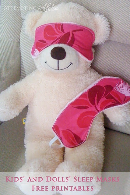 FREE Kids' AND doll / Build-A-Bear sleeping mask printables - 5-minute Christmas gift