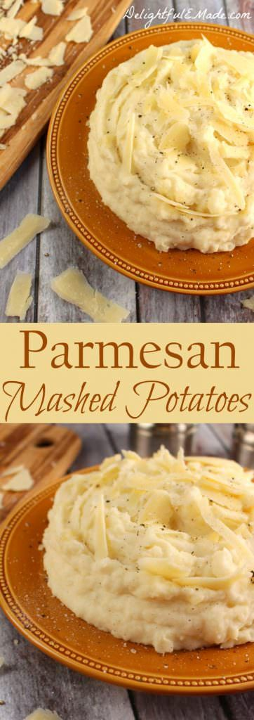 Perfectly creamy, these Parmesan Mashed Potatoes are nothing short of spectacular. Russet potatoes are lightly seasoned and combined with sour cream, cream cheese and Parmesan cheese making these potatoes the ultimate side dish for any meal! A must for every holiday meal as well!