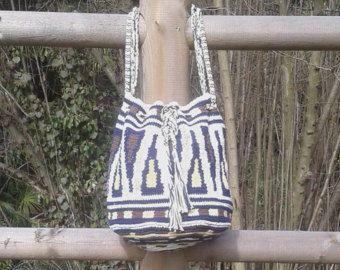 SHOULDER BAG - BUCKET bag - crochet handmade - large size - Wayuu technique - machine washable - 100% cotton - Ready to ship