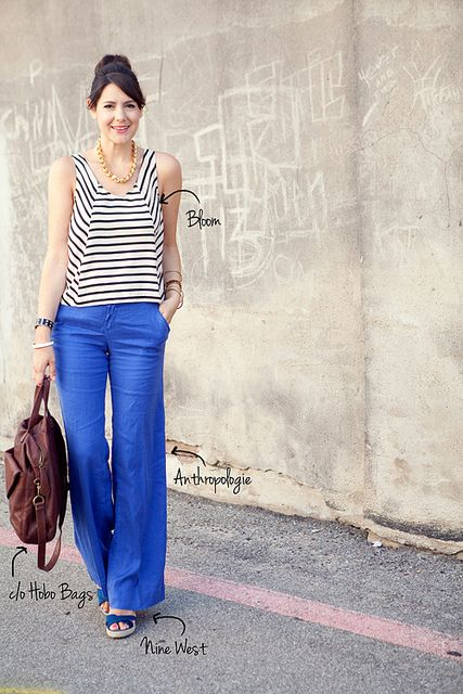 6.29.12a by kendilea, via FlickrBeautiful Blue, Summer Outfit, Linens Pants, Blue Pants, Stripes Shirts, Bright Blue, Blue Colors, Style Summer, Bold Colors