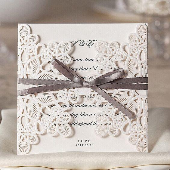Faire part de mariage de dentelle avec ruban gris JM628 à partir de 1.56€ faire part de mariage pas cher, sur mesure - joyeuxmariage.fr
