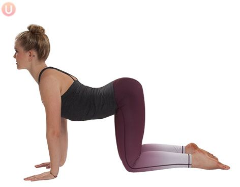 Try cow pose to stretch out your spine and ease into your day.