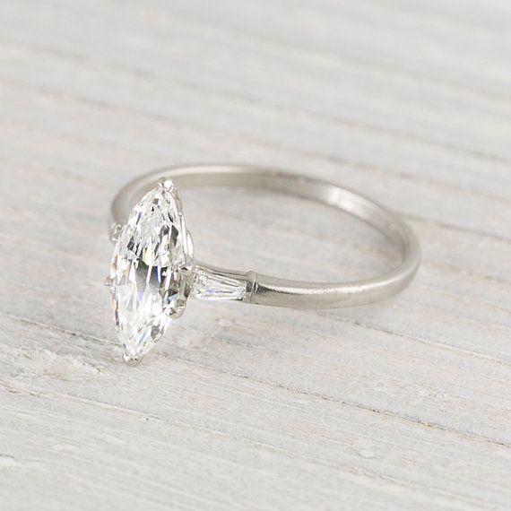 1.23 Carat Marquise Cut Vintage Engagement Ring | I do not think words will ever be able to adequately describe my love for this ring. Seriously.