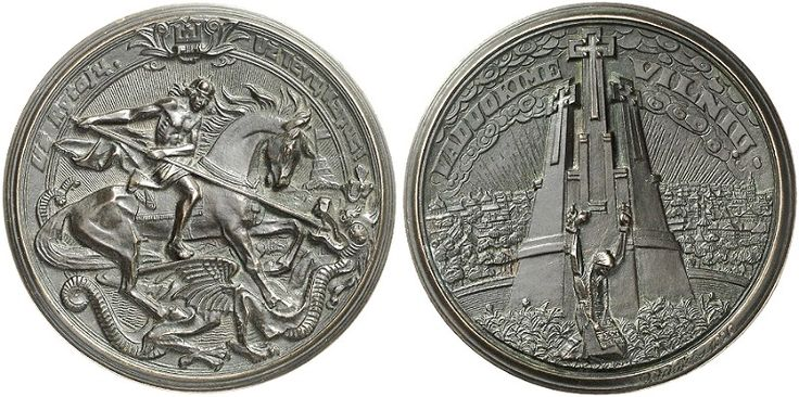 """LET US LIBERATE VILNIUS 1926 MEDAL OF PETRAS RIMSA Vytis is shown in violent combat, spearing the Polish dragon, with the (?) of Gediminas in the background. The top inscription is separated from the Columns of Gediminas emblem, and reads UZ RYTOJU – UZ TEVU KAPUS! which translates """"for the future – for the graves of our ancestors!"""""""