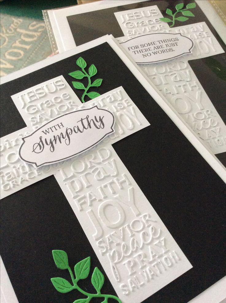Embossed cross Christian Sympathy card using Faith Darice embossing folder