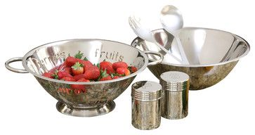6-piece Stainless Steel Salad Gift Set with 4-quart Bowl and Colander - contemporary - colanders and strainers - muzzha!........plastic be gone!