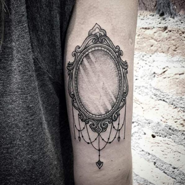 Vintage mirror tattoo by Lucas Martinelli