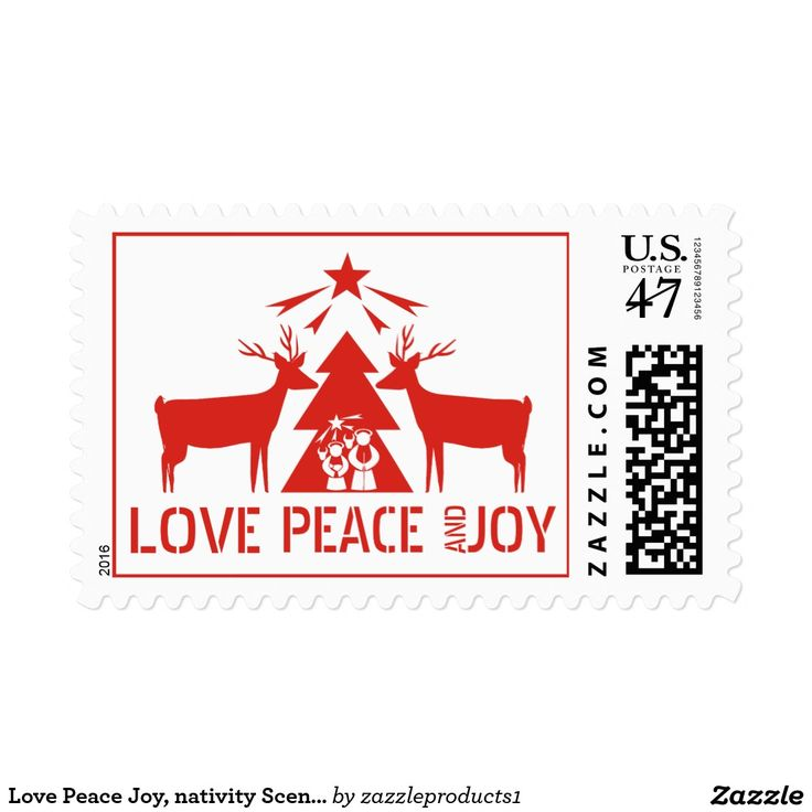 Love Peace Joy, nativity Scene red Christmas Postage Stamp