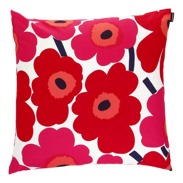 Discover the Marimekko Pieni Unikko Cushion Cover - White/Red at Amara £29.50