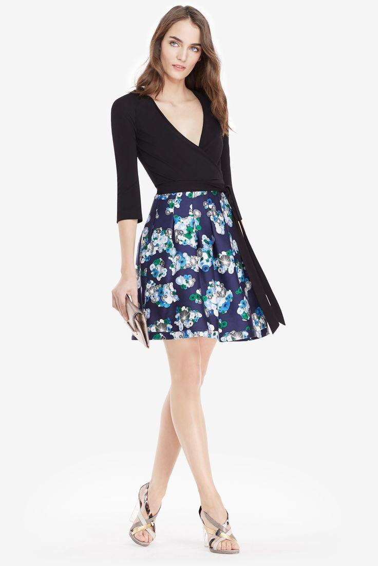 Dvf Jewel Silk Combo Wrap Dress In Black Floating Flowers