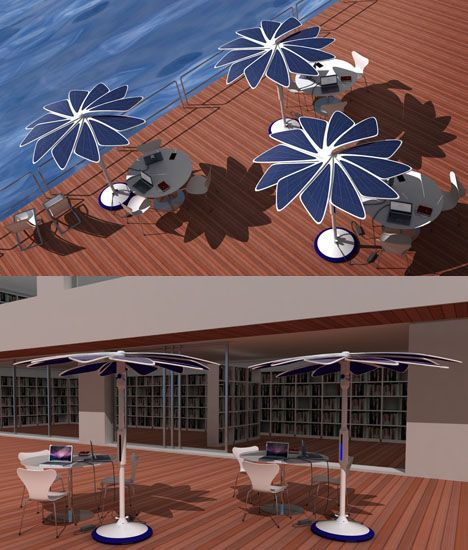 """SOLARIS is a sun shading system which uses solar energy to create new work and leisure spaces.  SOLARIS has 6 """"wings"""", each with 2 photovoltaic panels, which revolve around a central column for easy stowing.  Three electrical sockets are available in the base, for charging portable computers, cell phones or any kind of electronic devices.   Designer : André Castro, Elizabeth Remelgado, and José Vicente"""