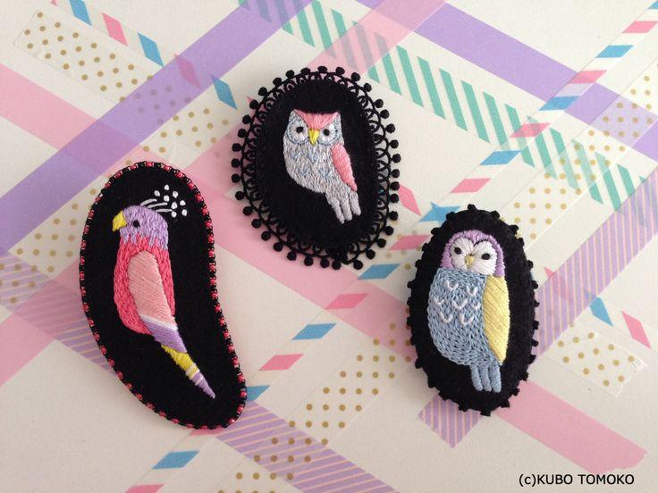 #KuboTomoko #Crafts #刺しゅう #刺繍 #embroidery #handmade #ハンドメイド #illustration #イラストレーション #フクロウ #梟 #Owl #ブローチ #brooch
