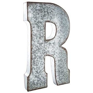 Put a vintage inspired spin on monogram letters using this stylish Large  Galvanized Metal Letter   R  This oversized hollow metal letter features a. 17 Best images about decor this home on Pinterest   Initials