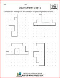 Line Symmetry 1, a math symmetry sheet for 3rd graders