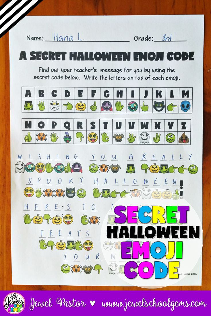 Halloween Activities ★ Emoji Activities ★ Secret Halloween Emoji Code ★ Emojis ★ A SECRET HALLOWEEN EMOJI CODE contains a secret code activity that can come handy during Halloween! You get two kinds of sheets: one that has the secret message in Halloween emoji code and another that has the answer key. The answer key can be shown to the students through the interactive whiteboard. You can give a prize to the first one to finish this exciting activity. Click through to see it in my TpT store!