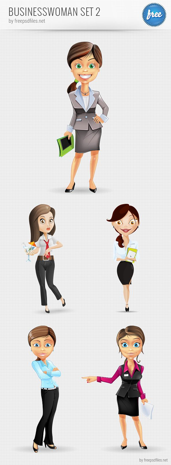 Businesswoman Vector Character Set 2 Businesswoman vector character set released today for free download. We've designed a set of 5 female characters that appear to really know how to do business. Use any of these characters for your next business projects. We assure you that once you put these characters to your projects, they will look much friendlier. Do not hesitate anymore and head straight to the download section. Grab the PSD file for free!