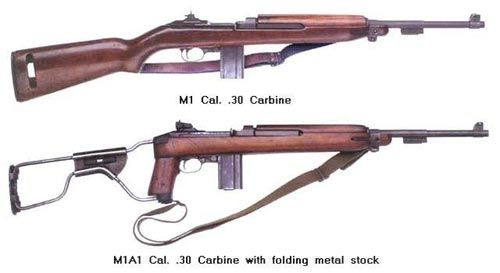 The M1 carbine. The carbine version of the venerable M1 Garand. This model fired a .30 caliber round and was magazine fed. This model was typically carried by paratroops.